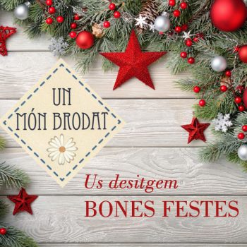 Christmas background with bright wooden board and fir branches decorated with red and silver baubles and stars - modern, simple and elegant